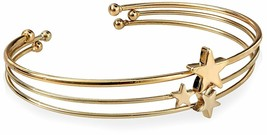 Fortuni Gold Plated Triple Star Adjustable Open Bangle Cuff Bracelet image 1
