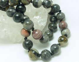 Black Silver Leaf Jasper Beaded Round Gemstone Necklace 20 inch - $32.00