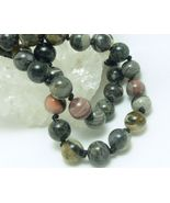 Black Silver Leaf Jasper Beaded Round Gemstone Necklace 20 inch - $35.00