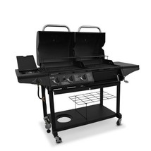 Black Hybrid Gas Charcoal Grill 3-Burner Outdoor BBQ Portable Patio Cook... - $537.10