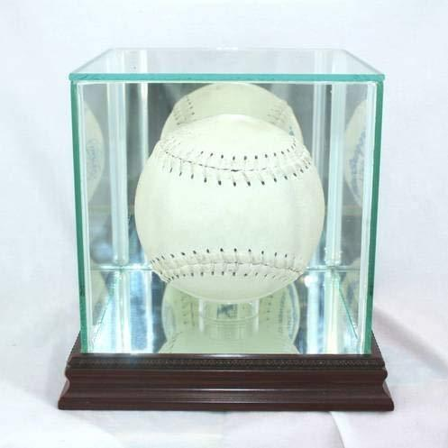 Perfect Cases Glass Softball Display Case with Cherry Wood Molding