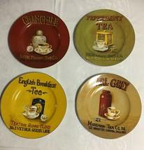 """ONEIDA Tea Cups 8 1/4 """" Plates Salad / Dessert Set of 4 Chamomile Earl Grey - $29.35"""