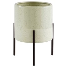 """Rivet Mid-Century Ceramic Planter with Iron Stand 9.1""""H, Pale Green"""