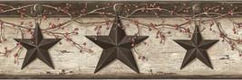 Barn Stars Pip Berries Wallpaper Border Grey Chesapeake Wallcovering PUR... - $20.78