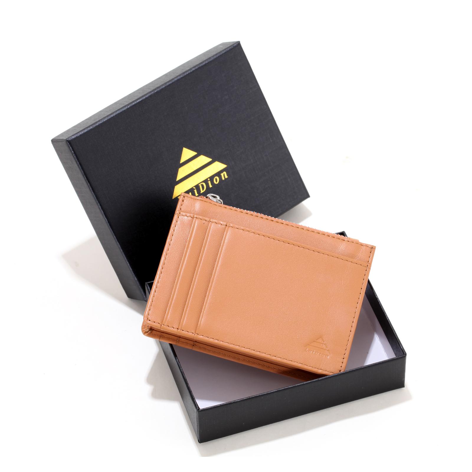 Slim. ID Holder Men/'s RFID Blocco Reale in Pelle nera porta carte di credito