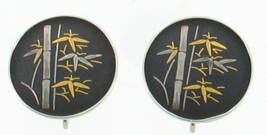 Vintage  Sterling Gold Silver Damascene Amita Japan Bamboo Earrings Scre... - $32.39