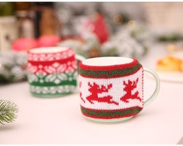 Knitted Mug Cover Snowflake Elk Christmas Decoration Cup Cover Party Tab... - $3.99