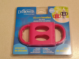 Dr. Brown's Pink 100% Silicone Wide-Neck Baby Bottle Handles 4+M (NEW) - $9.85