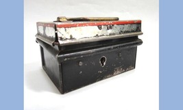 antique ORIG. MINI METAL CASH BOX~DIME BANK w/LOCK salesman sample,child... - $87.95