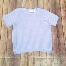 Alfred Dunner Womens Lavender Solid Short Sleeves Round Neck Sweater Size L - $17.81