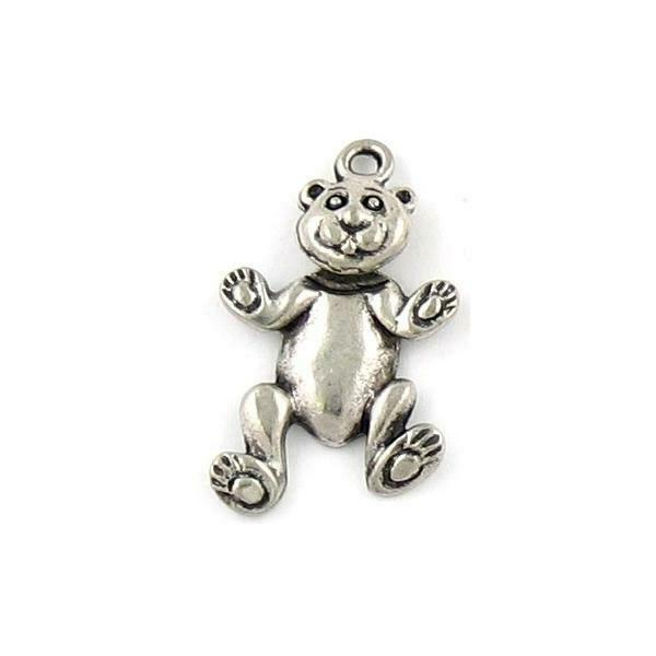 WIGGLY BEAR FINE PEWTER PENDANT CHARM - HEAD MOVES - 16mm L x 25mm W x 3mm D
