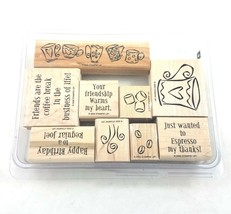 Stampin Up Espress Yourself Stamp Kit Rubber Wood Mounted 2002 Set of 9 - $14.73