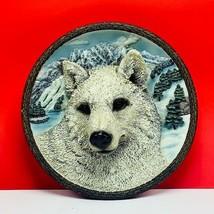 Bradford Exchange plate White Wolf embossed faces wild vintage sculpture winter - $43.32