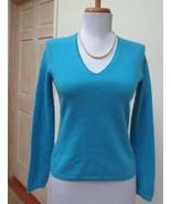 DKNY (Donna Karan New York) Aqua Blue 100% Cashmere V-Neck Sweater Size ... - $34.64
