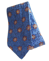 Robert Talbott 57 Inch Silk Mens Neck Tie Royal Blue Flowers Shiny Mater... - $11.95