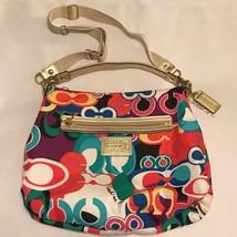 Coach Womens Signature Shoulder Bag Multicolor Canvas Zipper Purse Medium - $57.55