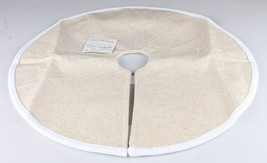 """New with Tags 18"""" Mini Luxed Beige Linnen with White Trim Christmas Tree Skirt image 1"""