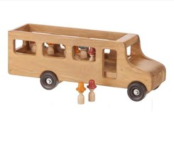 Large School Bus With Little People - Large Amish Handmade Working Wood Toy Usa - $188.07