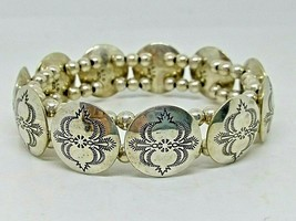 925 Sterling Silver Southwestern Round Concho Stretch Bracelet FITS ALL - $120.62