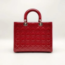 AUTH Christian Dior Lady Dior Large Red Patent Leather Cannage Shoulder Tote Bag image 3