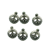 15mm peace sign charms sun symbols metal silver tone 6 pc  - $2.50