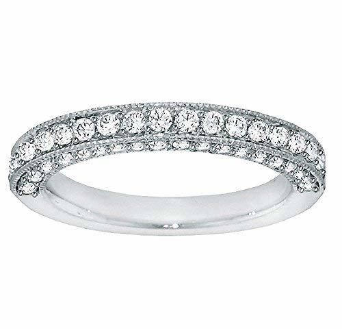 VIP Jewelry Art 1.00 CT TW Round Diamond Pave Set Wedding Band in Platinum - Siz