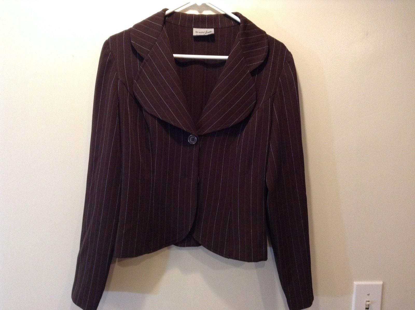 Breaking Loose Women's Brown Blazer w Vertical Blue Stripes