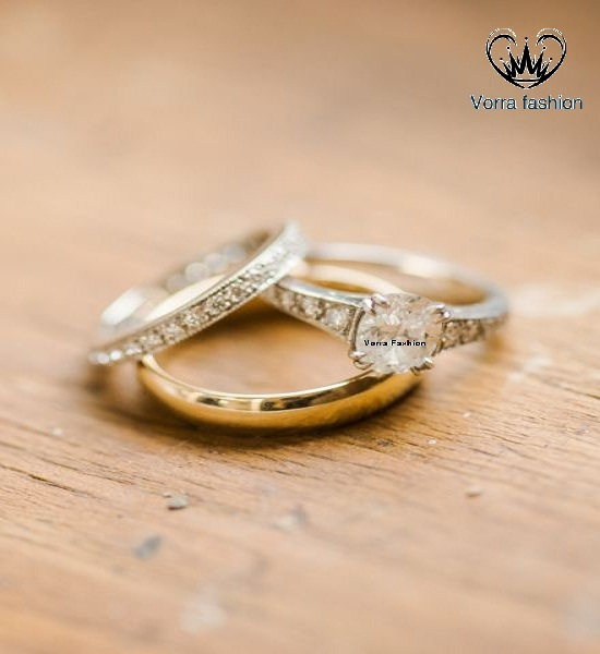His & Her Engagement Trio Ring Set In Diamond Yellow Gold Plated Pure 925 Silver