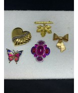 Lot of 5 Brooches Heart, Leaf, Avon Ribbon, Butterfly & Cabochon (2112) - $10.00