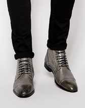 Handmade Men Gray leather ankle boots, Men Oxford lace up leather boots Men boot - $179.99