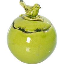 """Bird Lidded Ceramic Jar Green D6""""x7"""" - 66828GREE - $29.69"""