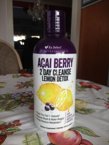 RX Select Nutraceuticals Acai Berry 2 Day Cleanse lemon Detox 32 oz New Sealed