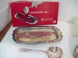 Antique Wm. Rogers International Silverplate Cranberry Set Original Box  B1 - $19.75
