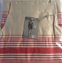"Libeco Apron Amherst Flax Red Stripe 100% Linen Kitchen Restaurant 28"" X... - $51.76"