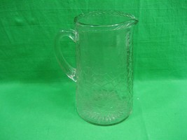 Vintage Clear Crystal Pitcher with Intricate Design - $22.40