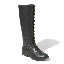 Universal Thread Women's Black Faux Leather Magda Lace-Up Buckle Riding Boots