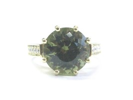Natural Round Green Tourmaline & Diamond Yellow Gold Ring 18Kt 7.50Ct G-VS2 - $3,465.00