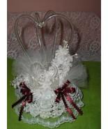 Pre-Owned Wedding Anniversary Glass Swan Cake Topper Burgundy Wine Ribbon - $74.25