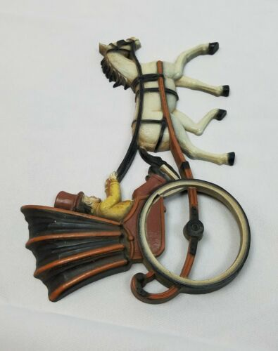 Vintage Homco 1975 plastic wall hanging decor mid century carriage man horse