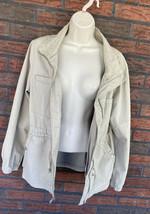 Tan Anorak Jacket Large Drawstring Waist Hooded 4 Pocket 100% Cotton Old... - $19.60