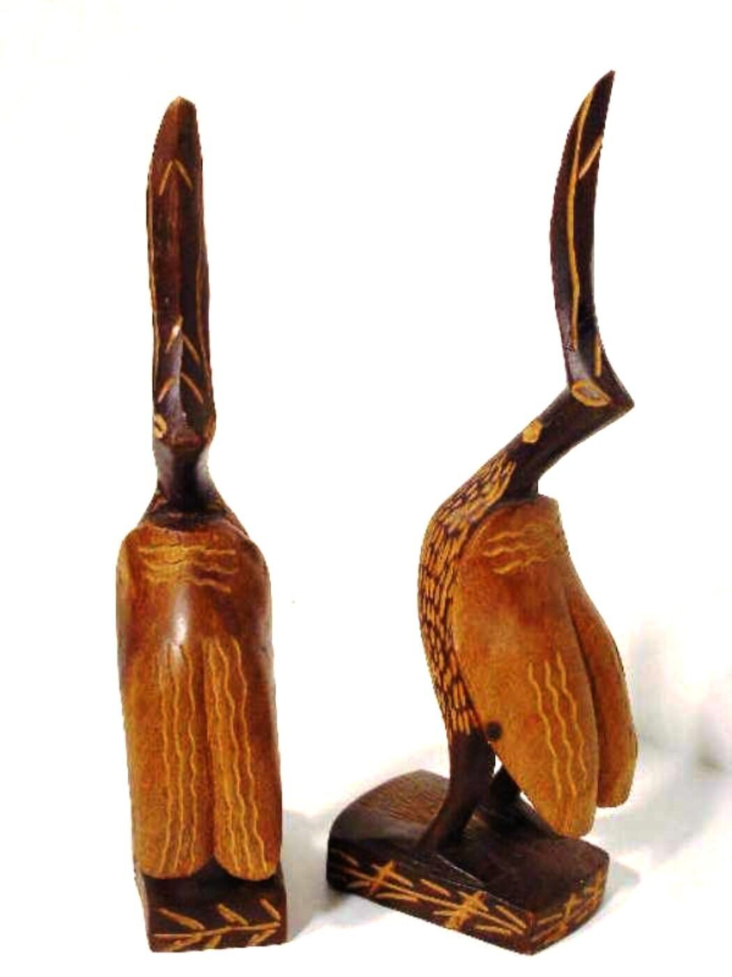 Pelicans Two Wooden Bird Figurines Hand Carved Sculptures 7.5 inches Tall