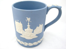2 CHRISTMAS MUGS JASPER-WARE BLUE WEDGWOOD 1971 AND 1975 - $79.46