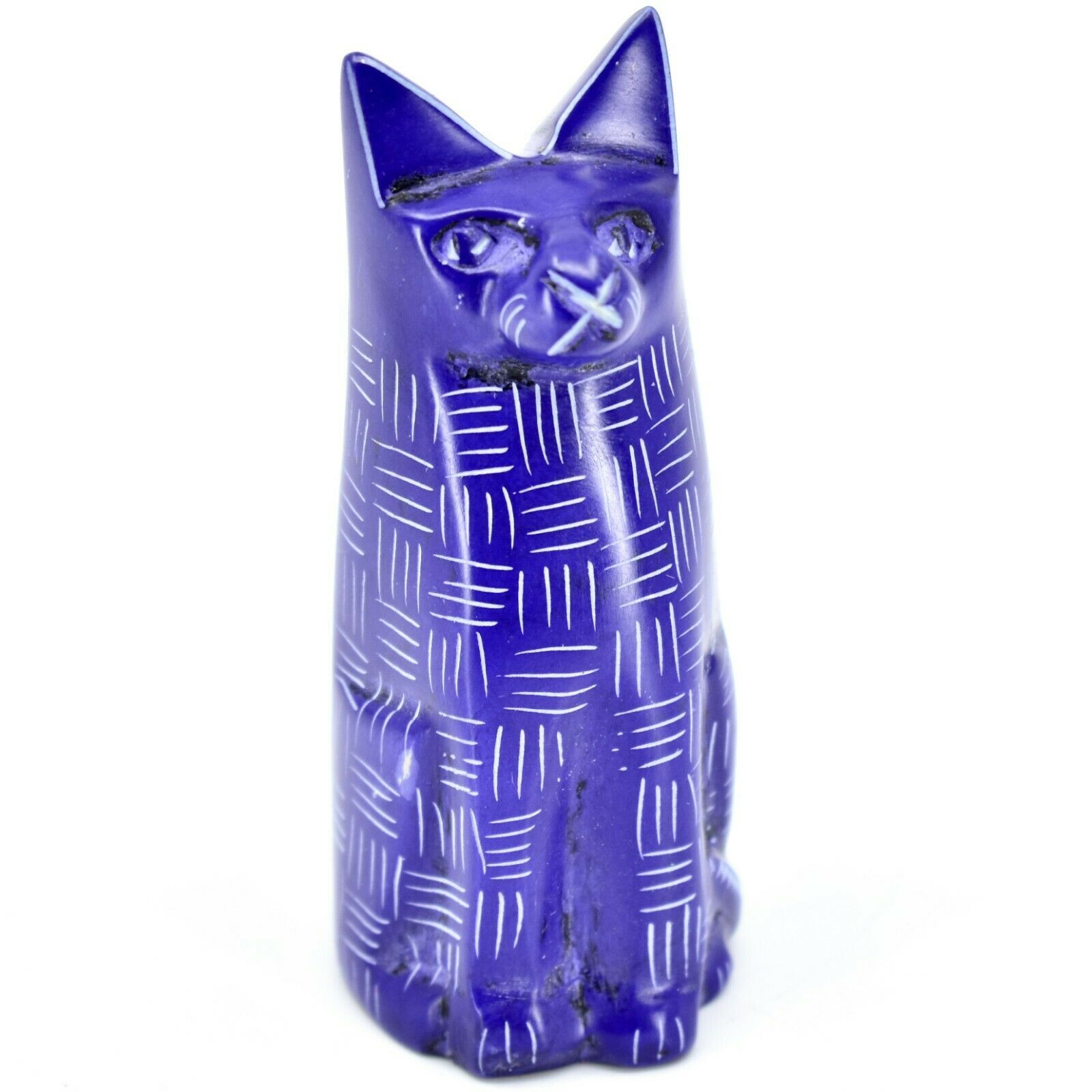Vaneal Group Hand Carved Kisii Soapstone Dark Blue Sitting Kitty Cat Figurine