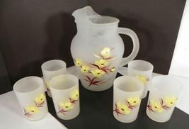 Satin Glass Juice Pitcher 7-Pc Set Tumbler (s) Bright Yellow Flowers - $39.55