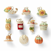 Lenox Autumn Favorites Miniature Tree Ornaments 10 Thanksgiving Pie Pump... - $69.30