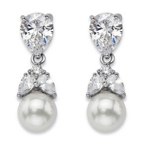 "Simulated Pearl and Crystal Silvertone Floral Drop Earrings 1"" (8mm) - $19.99"