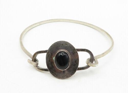 EM NAVAJO 925 Silver - Vintage Cabochon Cut Black Onyx Hook Cuff Bracelet- B6338 image 2