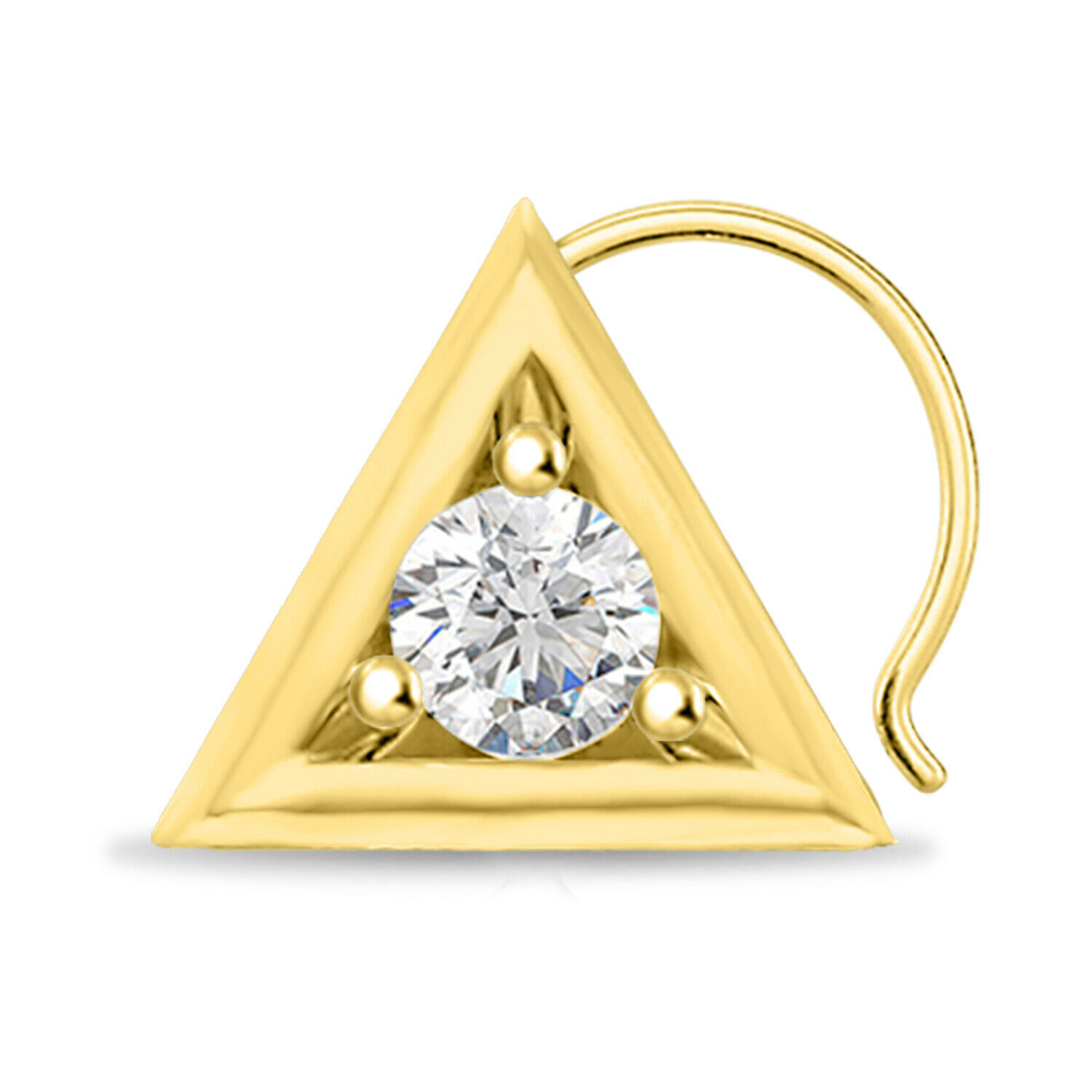 Primary image for Fancy Solitaire Nose Pin 075 ct Round Cut Diamond 14k Yellow Gold Finish