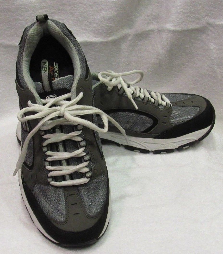 Skechers USA Larson Sotes Memory Foam Shoe Charcoal/Black Men's Sz 9 NWOB