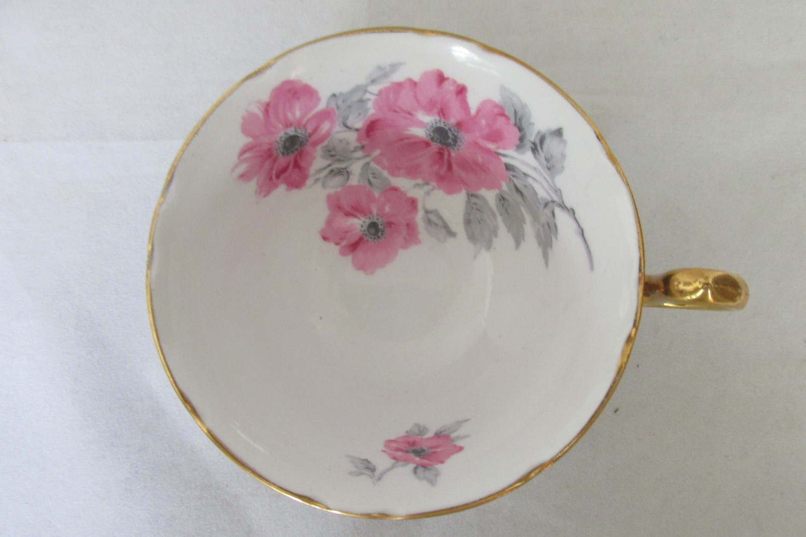Vintage Royal Stafford English Bone China Cup & Saucer - Black with Pink Roses